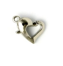 12 PC ASP 12x10mm Heart Lobster Claw Clasp