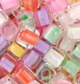 "Cube 3mm Tube 2.5"" : Color Lined Pastel Mix"