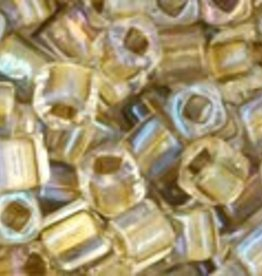 "Cube 3mm Tube 2.5"" : Inside-Color Crystal/Gold Lined"
