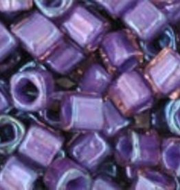"Cube 3mm Tube 2.5"" : Inside-Color Rainbow Rosaline/Opaque Purple Lined"