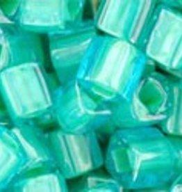 8 GM Toho Cube 4mm : Inside-Color Aqua/Lt Jonquil Lined (APX 75 PCS)