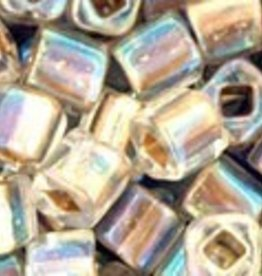 8 GM Toho Cube 4mm : Gold-Lined Rainbow Crystal (APX 75 PCS)