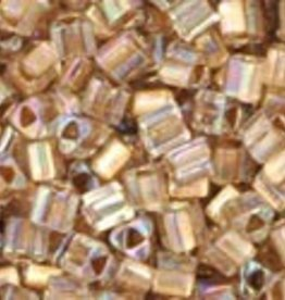 8 GM Toho Triangle 11/0 : Gold-Lined Rainbow Crystal (APX 550 PCS)