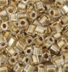"""Hex 11/0 Tube 2.5"""" : Gold-Lined Crystal"""