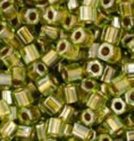 """Hex 11/0 Tube 2.5"""" : Gold-Lined Peridot"""