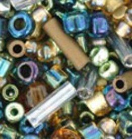 "Multi-Shape/Color Mix Tube 2.5"" : Raiden- Gold/Green/Blue Mix"