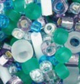 """Multi-Shape/Color Mix Tube 2.5"""" : Fuji- White/Green/Blue/Purple Mix"""