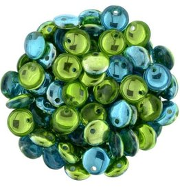 50 PC 6mm Lentil : Mirror Reflection Lime Teal