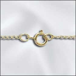 """1 PC 24"""" Gold Filled Filed Curb Chain w/ Springring"""
