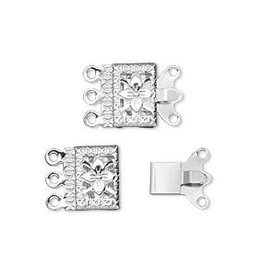 5 Set SP 10x7mm Filigree Square 3 Strand Clasp