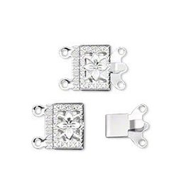 5 Set SP 10x7mm Filigree Square 2 Strand Clasp