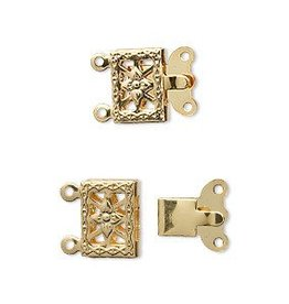 5 Set GP 10x7mm Filigree Square 2 Strand Clasp