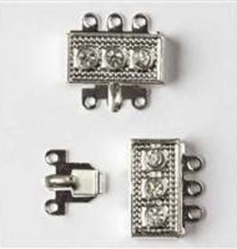 3 Set SP 18mm Rhinestone Box Clasp