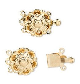 2 Set GP 14mm 3 Strand Scallop Box Clasp