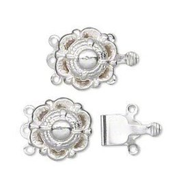2 Set SP 14mm 3 Strand Scallop Box Clasp