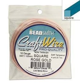 4 YD 18GA Square Craft Wire : Rose Gold
