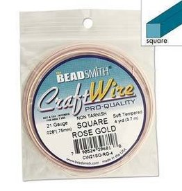 4 YD 21GA Square Craft Wire : Rose Gold