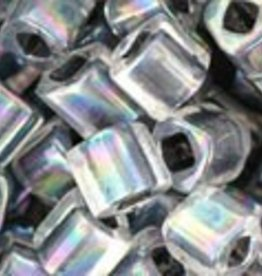 8 GM Toho Cube 4mm : Inside-Color Rainbow Crystal/Opaque Gray Lined (APX 75 PCS)