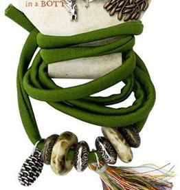 10pc Woodland Green Wrapped Cord with Metal and Acrylic Beads and Charms