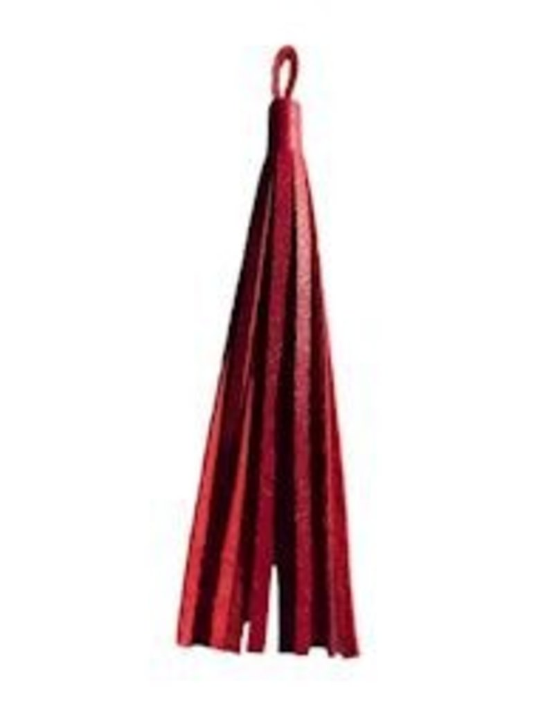 "1 PC 3"" Nappa Leather Tassel : Red"