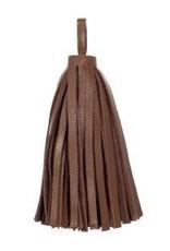 "1 PC 3"" Large Nappa Leather Tassel : Saddle Tan"