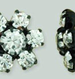 1 PC 12mm Rhinestone Button - Flower Round : Black - Crystal