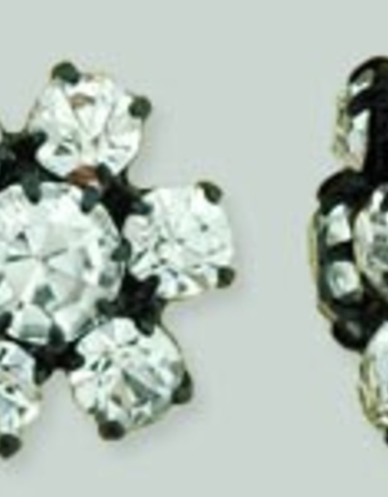 1 PC 12mm Rhinestone Button - Flower Round : Black - Crystal