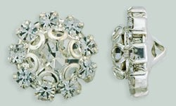 1 PC 11mm Rhinestone Button - Flower Round : Silver - Crystal