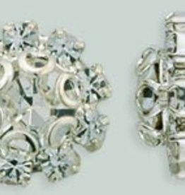 1 PC 11mm Rhinestone Button - Flower Round : Silver - Crystal
