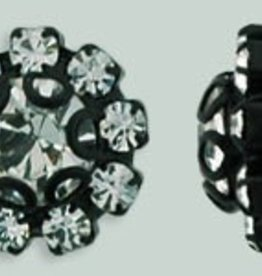 1 PC 11mm Rhinestone Button - Flower Round : Black - Crystal