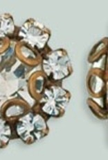 1 PC 11mm Rhinestone Button - Flower Round : Antique Copper- Crystal