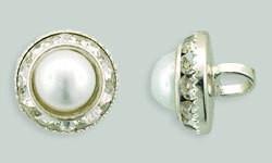 1 PC 12mm Rhinestone Button - Round : Silver - Pearl/Crystal