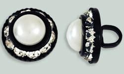 1 PC 12mm Rhinestone Button - Round : Black - Pearl/Crystal