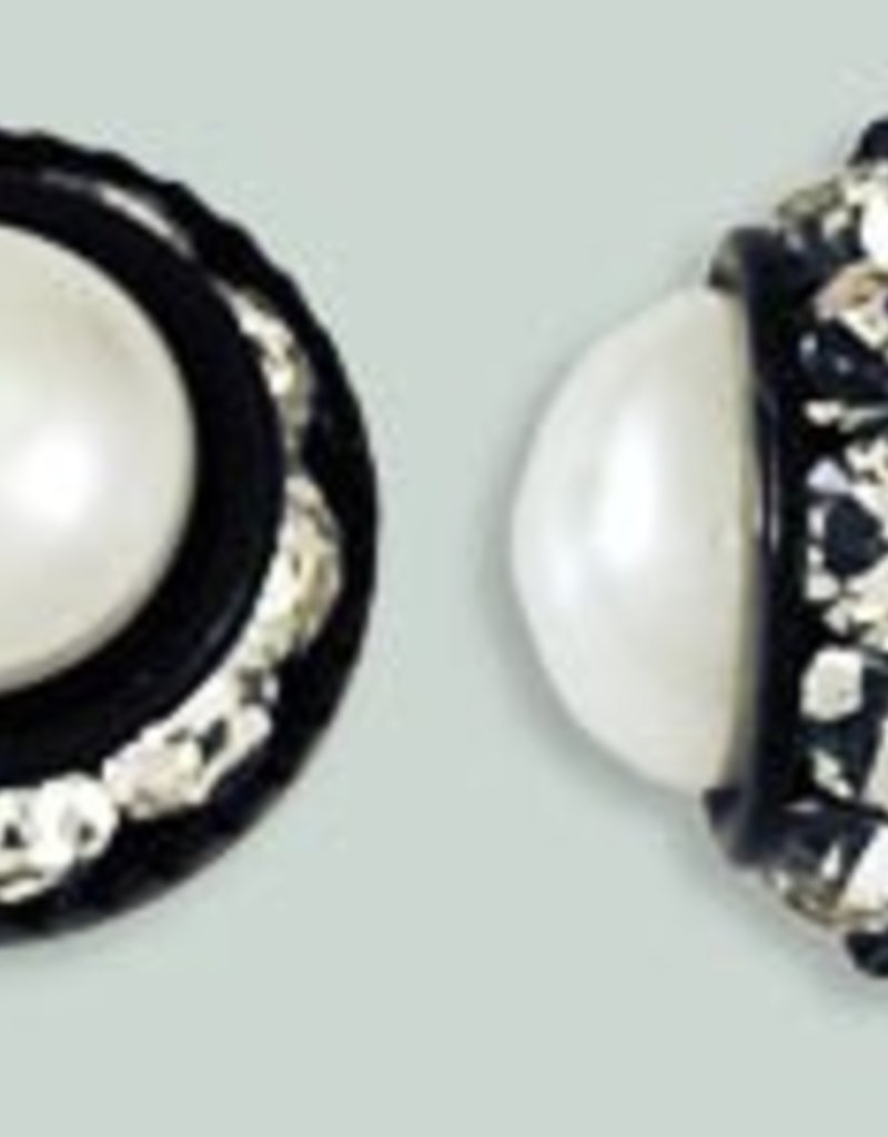 1 PC 12mm Rhinestone Button - Round : Black - Pearl/Crystal