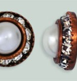 1 PC 12mm Rhinestone Button - Round : Antique Copper - Pearl/Crystal