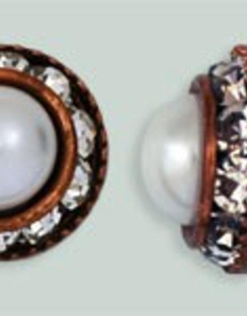 1 PC 12mm Rhinestone Button - Round : Antique Copper - Pearl/Crystal