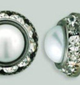 1 PC 12mm Rhinestone Button - Round : Gunmetal - Pearl/Crystal