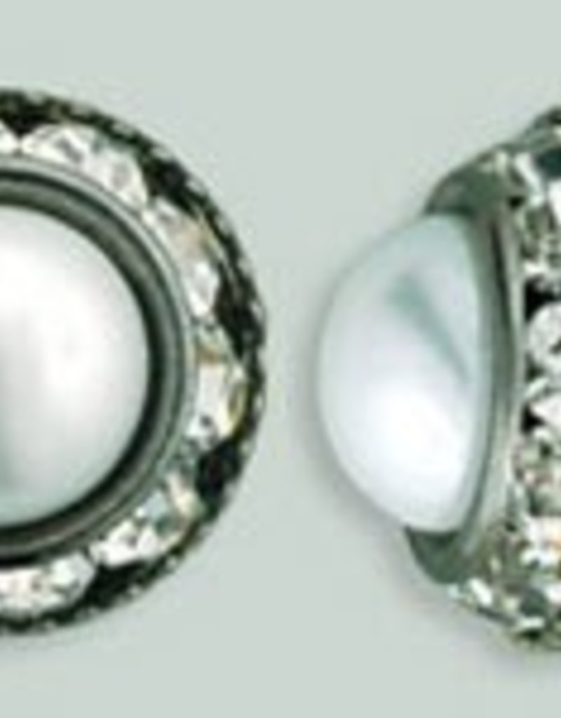 1 PC 12mm Rhinestone Button - Round : Gunmetal - Pearl/Crystal