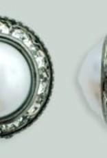 1 PC 16mm Rhinestone Button - Round : Gunmetal - Pearl/Crystal