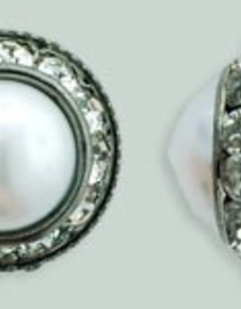 1 PC 16mm Rhinestone Button - Round : Gunmetal - Pearl/Crystal