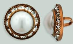 1 PC 16mm Rhinestone Button - Round : Antique Copper - Pearl/Crystal