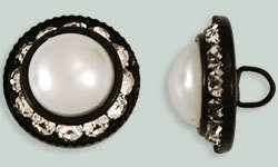 1 PC 16mm Rhinestone Button - Round : Black - Pearl/Crystal