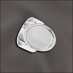 1 PC SP 18x13mm Oval Bezel Setting Adjustable Ring