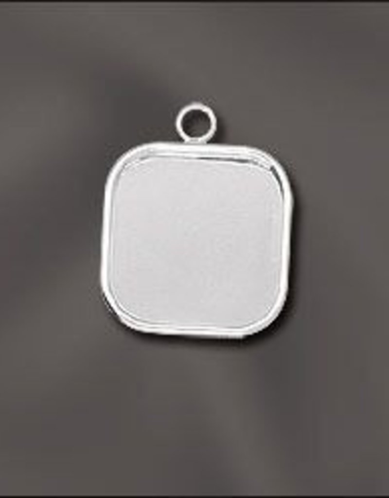 1 PC SP 16mm Square Bezel Setting Pendant