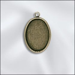 1 PC ABP 25x18mm Oval Bezel Setting Pendant