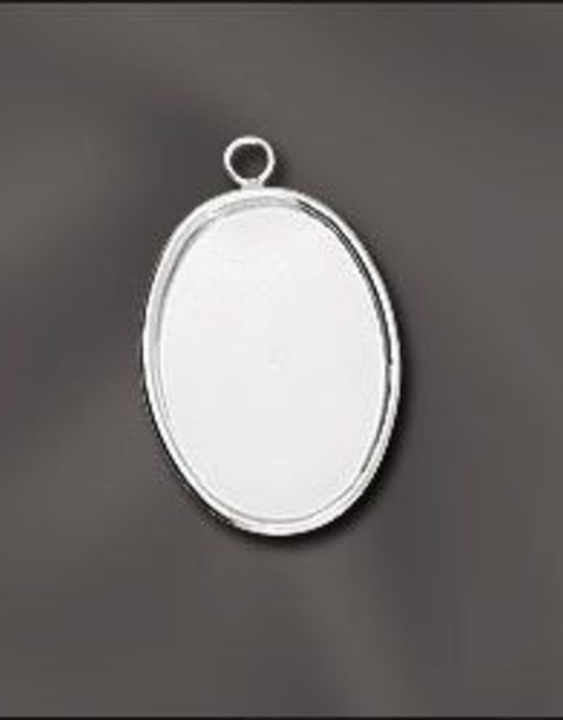 1 PC SP 25x18mm Oval Bezel Setting Pendant