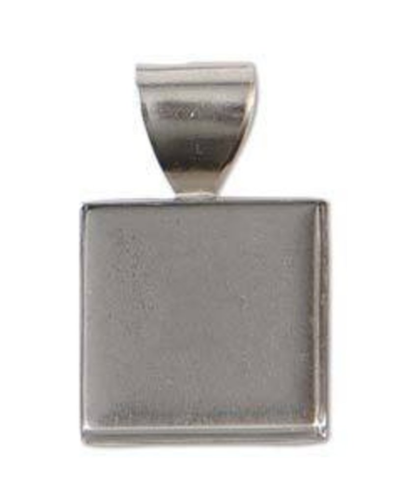 1 PC ASP 10mm Square Stamped Pendant