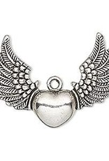 1 PC ASP 35x26mm Heart with Wings Charm