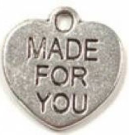 "2 PC ASP 16x15mm ""Made For You"" Heart Charm"