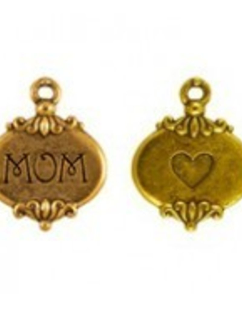 "1 PC AGP 26x16mm ""Mom"" Charm"